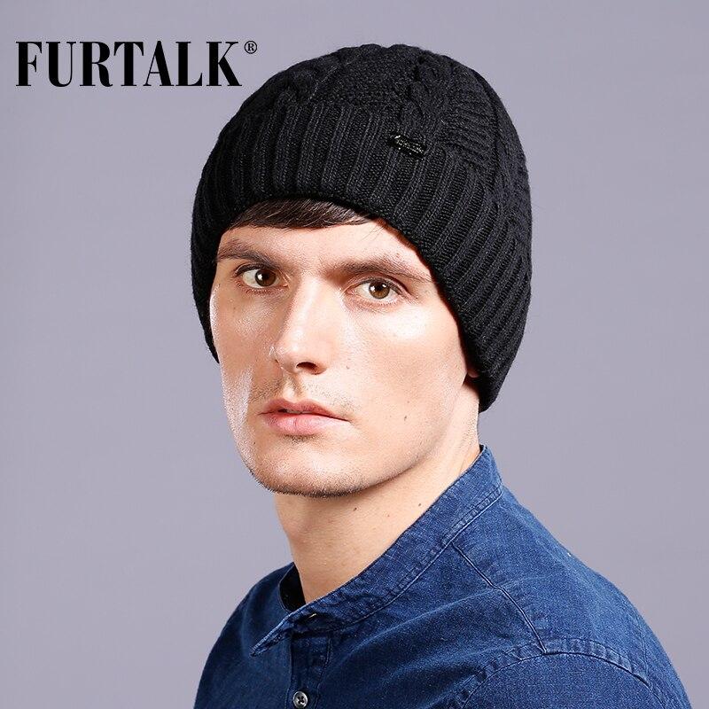 FURTALK warm Wool Men Winter Hat Knit Skullies Beanies Hats Male B026