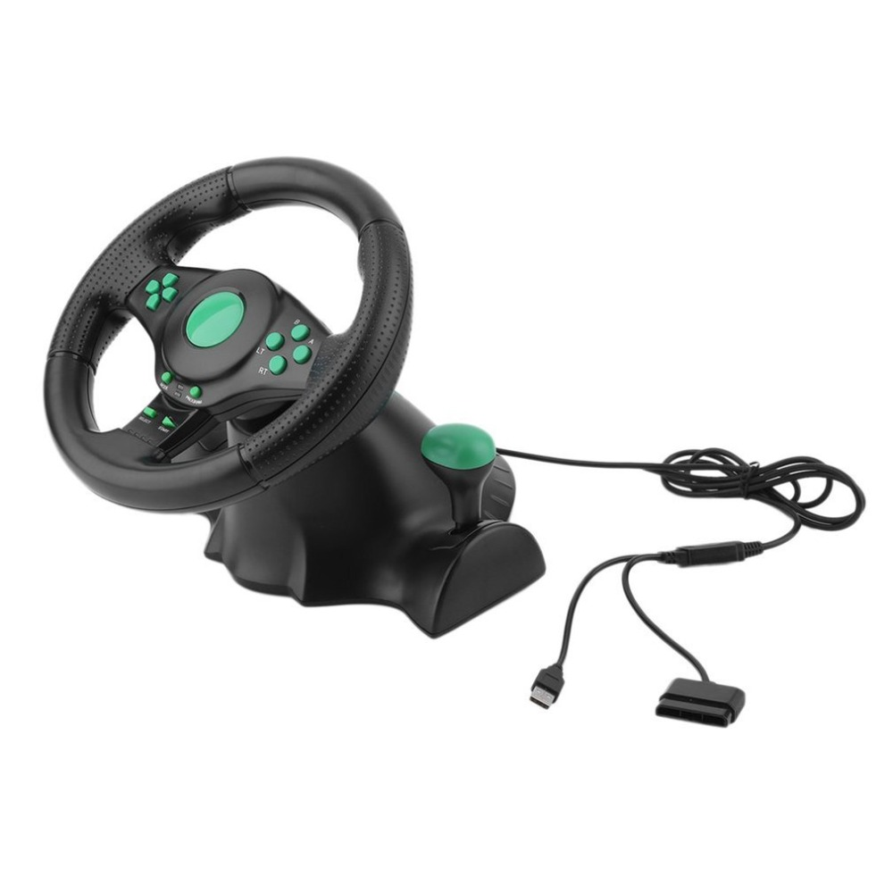 180 Degree Rotation Gaming Vibration Racing Steering Wheel With Pedals For XBOX 360 For PS2 For PS3 PC USB Car Steering Wheel in Video Games Wheels from Consumer Electronics