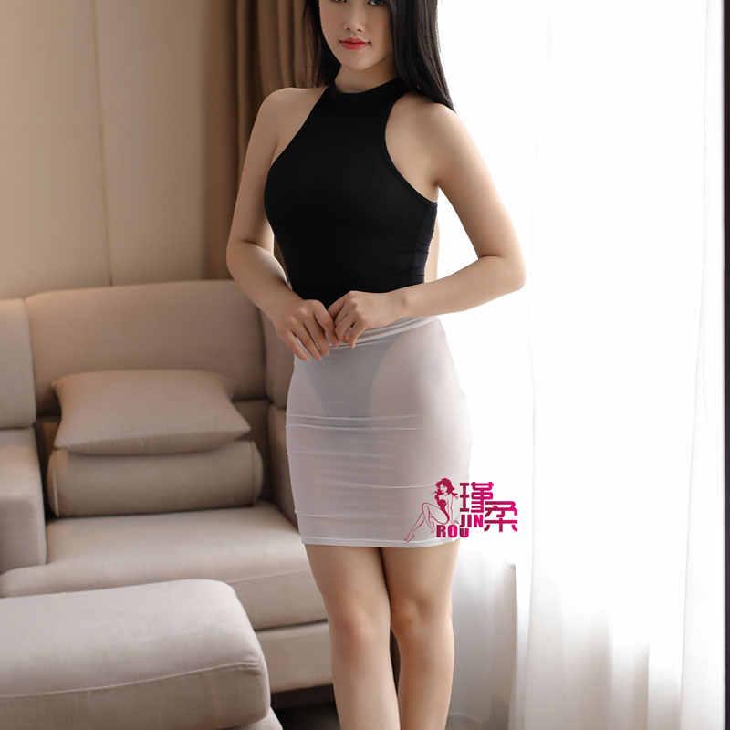 54ad4c686 Sexy transparente leche hielo seda Alta Corte apretado lápiz falda ver a  través de Mini falda noche Club falda fantasía ropa erótica para las ...