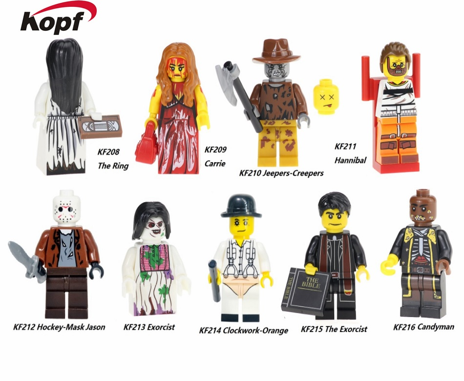 The Horror Theme Movie Hannibal Jeepers Creepers Clockwork Orange Carrie Hackey Mask Jason Building Blocks Kids Gift Toys KF6017 the infernal devices 1 clockwork angel