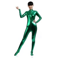 Unitard Black Catsuit Long Sleeve Lycra Gold Turtleneck Metallic Zentai Bodysuits Shiny Metallic Party Full Body Stage Costume