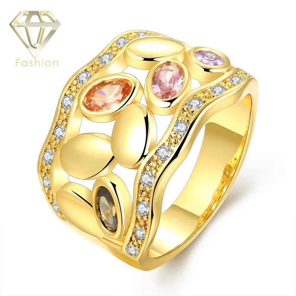 Gold toe rings for women - Gold Toe Rings Punk Style Hollow Geometric With Multi Color Rnhinestones Finger Ring Romantic Jewelry For