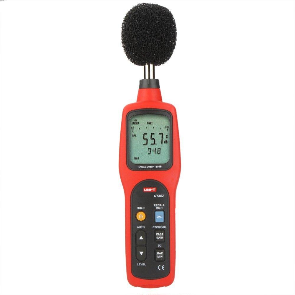 UNI-T UT352 sonomètre numérique 30 ~ 130dB testeurs de moniteur de bruit enregistrement de données d'alarme élevée