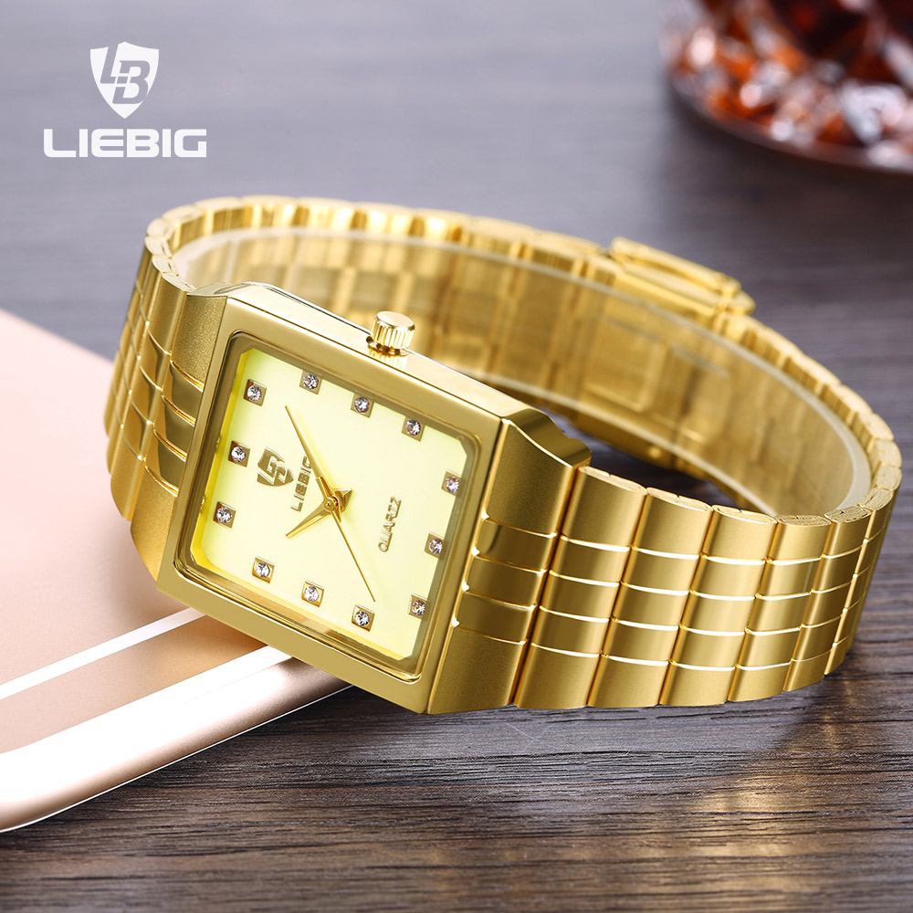 SKMEI Luxury Lovers Watch Men Women Watches Bracelet Quartz Wristwatch Golden Elegant Female Male Clock Man Dress 8808
