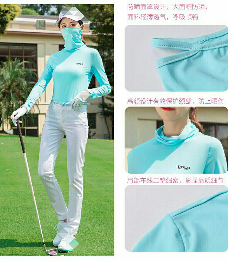 2018 Polo Summer Thin Cool breathable Tops protection clothes Golf clothes Women ice silk mask scarf Lady long-sleeved t-shirt