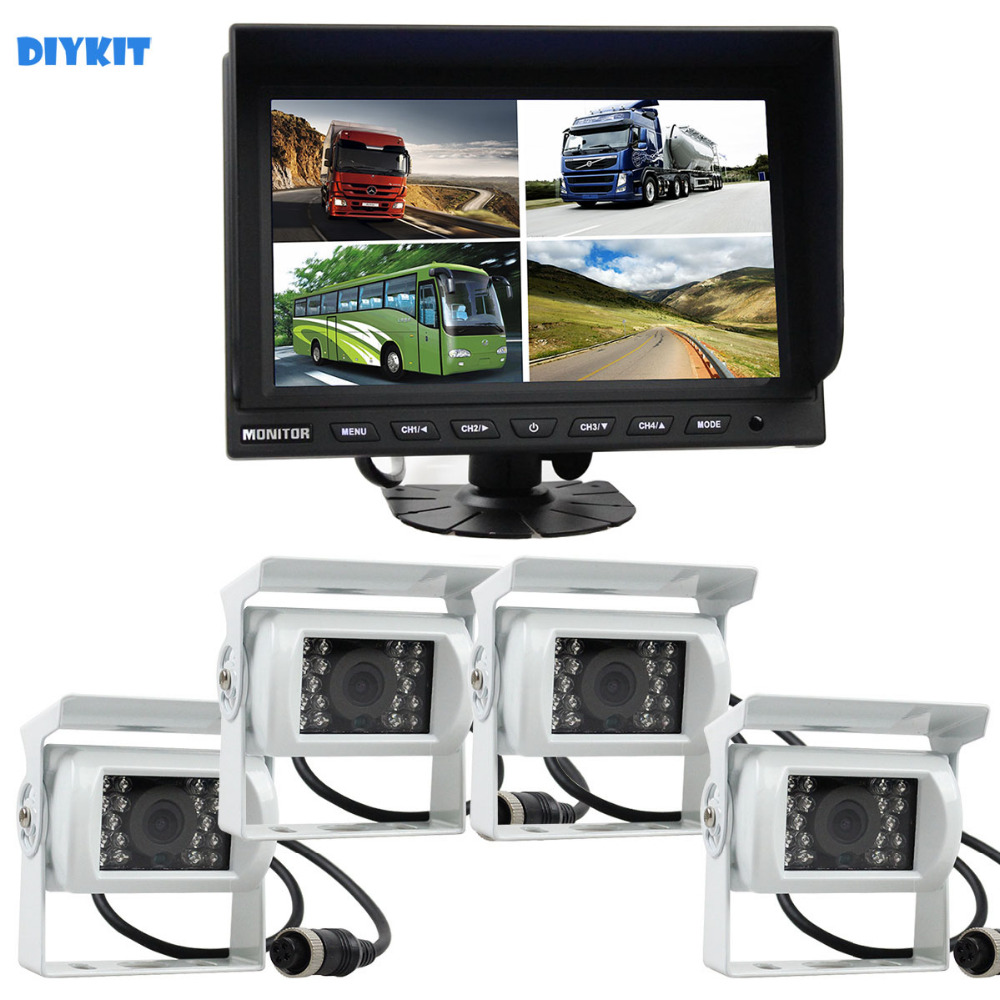 Diykit 9 Inch Split Quad Video Security Monitor Wit 4 X Ccd Ir Nachtzicht Achteruitrijcamera Waterdichte Monitoing Systeem
