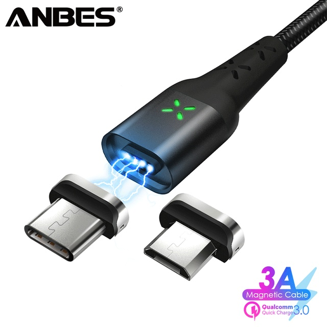 ANBES Magnetic USB Type C Micro USB Cable Magnet Charger Data Charging Wire USB C Cable For Samsung Xiaomi Mobile Phone Cables