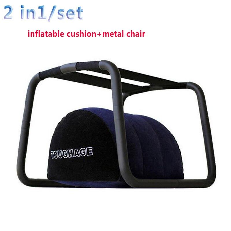 2 pièces/ensemble (coussin gonflable + chaise de position) oreiller de coussin en métal chaises jouets sexuels pour les couples aiment les meubles adultes