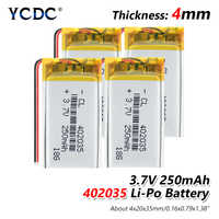 3.7V 250mAh (polymer lithium ion battery) Li-ion battery for tablet pc MP3 MP4 Electric Toy [402035] replace [402035] Batteries