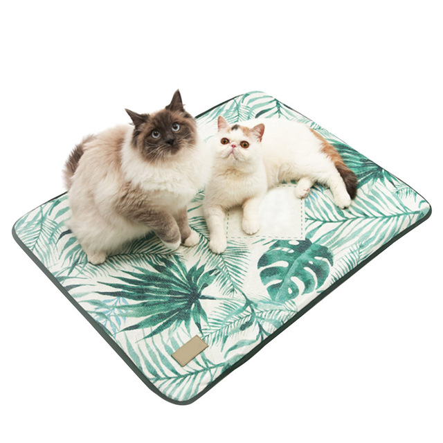 3D Print Summer Ice Silk Pet Dog Cooling Mat For Cat Dogs Floor Mats Blanket Sleeping Bed Cushion Cold Pad 4 Size Pet Supplie 2