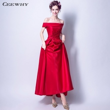 CEEWHY Boat Neck Red Formal Dress Women Elegant Prom Party Gown Embroidered  Evening Dresses Beaded Wedding 945d5321de45