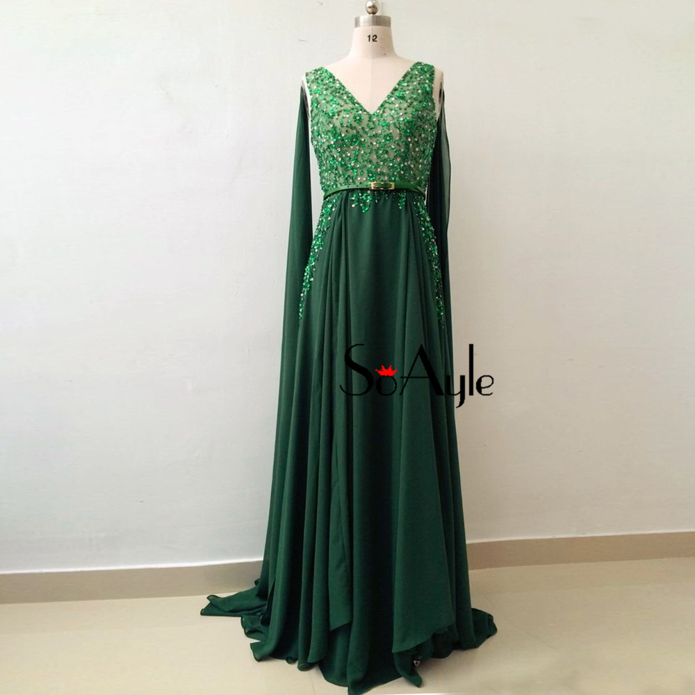 89422c3417fa9 SoAyle Dark Green Prom Dresses 2018 Beading V-Neck Chiffon Long Evening  Dresses Haute Couture Gorgeous Fashion Plus Size Gowns
