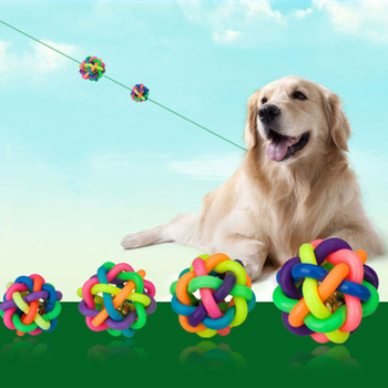 1Pc Round Rubber Rainbow Pet Ball Colorful Dog Woven Cat Interactive Toy Chew Toys Teeth Training Supplies - discount item  40% OFF Pet Products