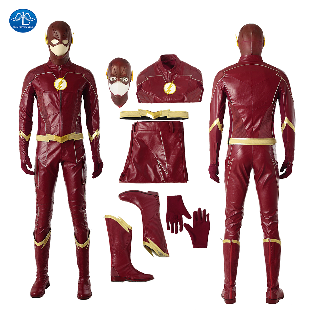The Flash Season 4 Barry Allen Cosplay Costume Superhero The Flash Costume With Boots Halloween Costumes For Men Customize