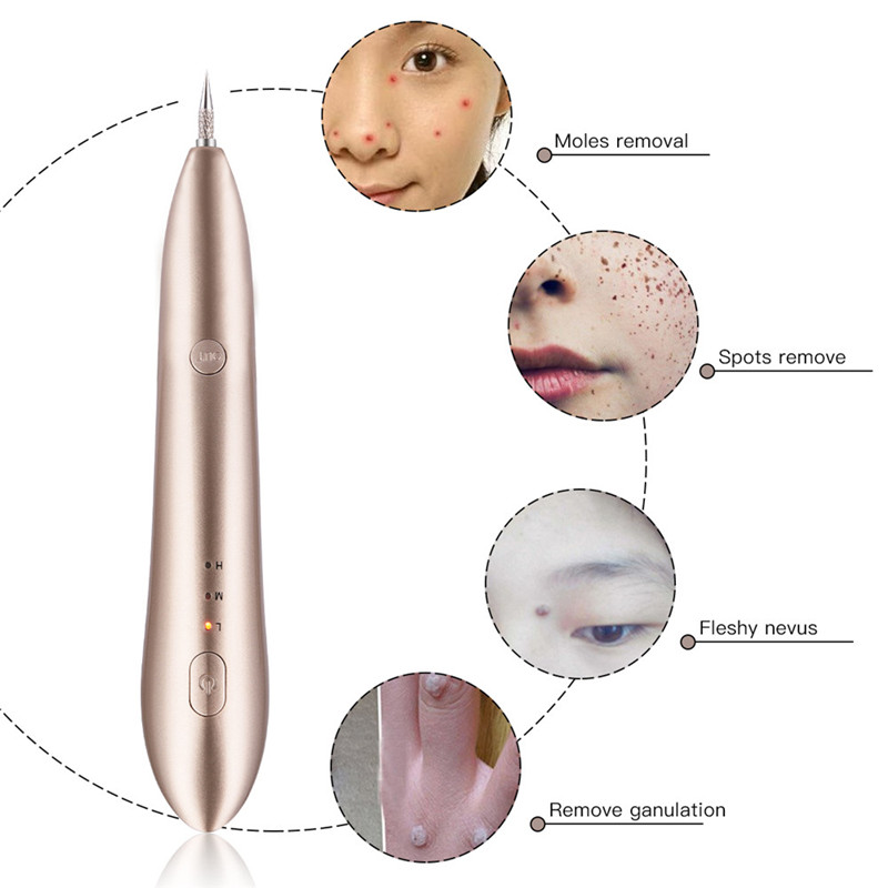 CkeyiN Mini Electric Face Cleanser Spots Freckle Nevus Mole Wart Tattoo Removal Pen Beauty Apparatus 5Pcs Replaceable Needles