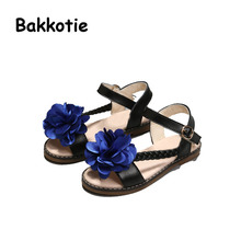 Bakkotie 2017 New Fashion Child Genuine Leather Summer Baby Girl Sandals Princess Shoe Kid Brand Breathable Soft Flowers Pink