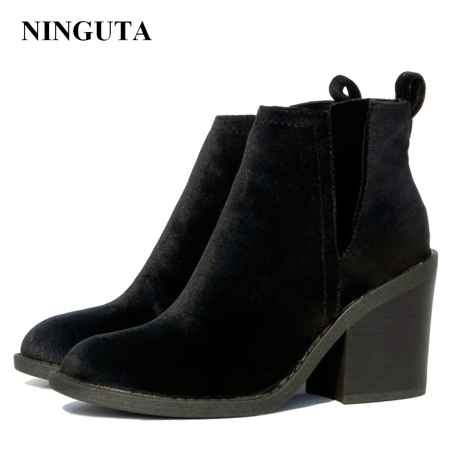 цена NINGUTA high heels ankle boots women sping autumn shoes woman velvet upper онлайн в 2017 году