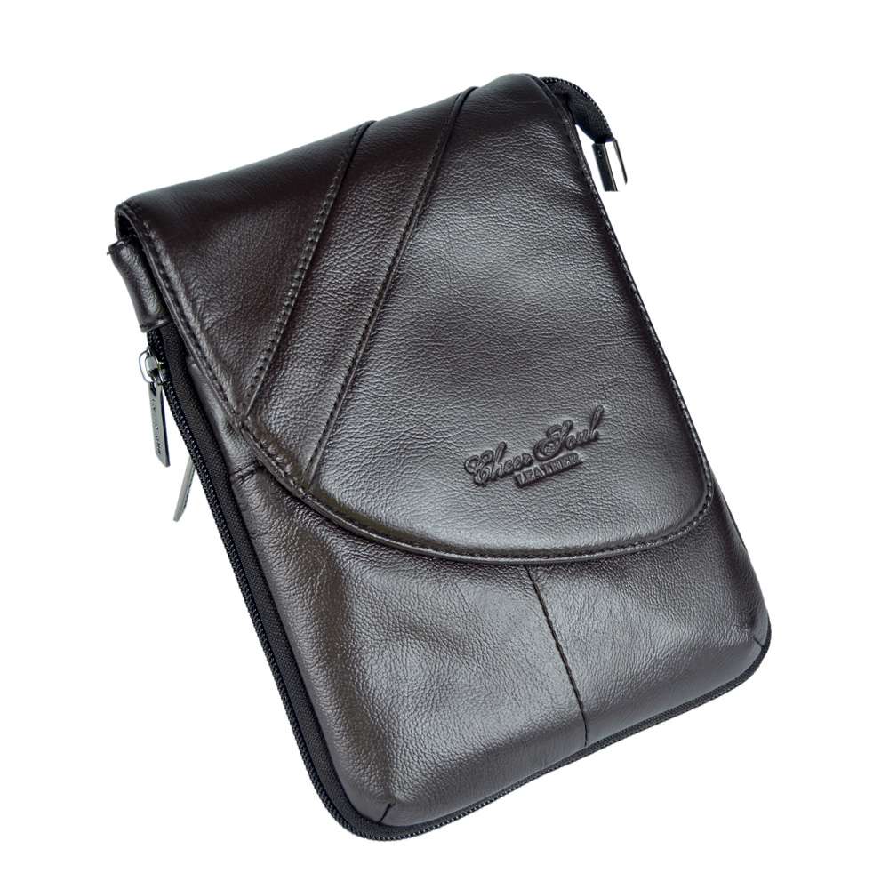 ФОТО 100% Guarantee Genuine Leather Soft Cow Skin Waist Bag for Men Hot sale Cowhide messenger men bag waist packs