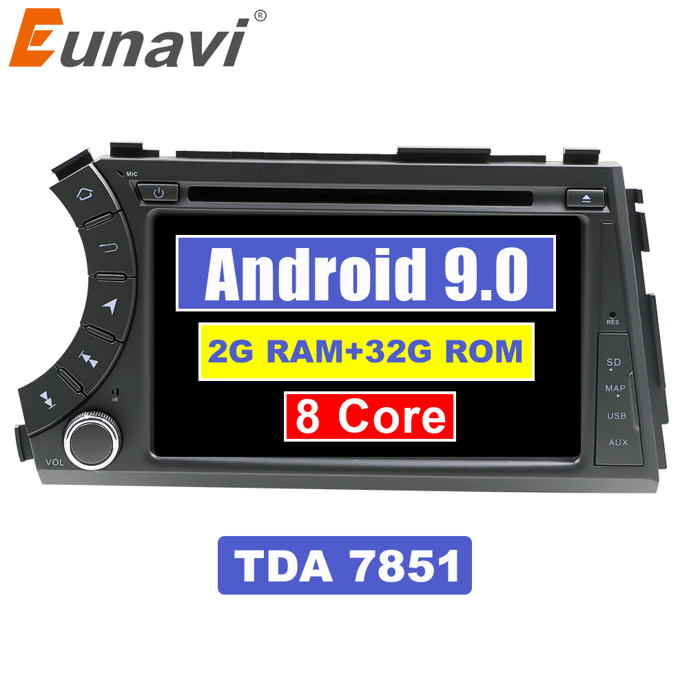 Eunavi 2G+32G Octa 8 core android 9.0 Car dvd for Ssang yong Ssangyong Actyon Kyron multimedia car radio gps navi T8 car stereo