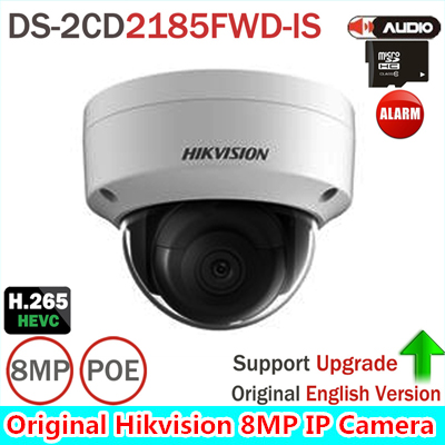 Hik DS-2CD2185FWD-IS 8MP Network Dome Camera H.265 Updatable CCTV Camera With Audio and Alarm Interface SD Card Slot kid s box levels 1 2 tests cd rom and audio cd
