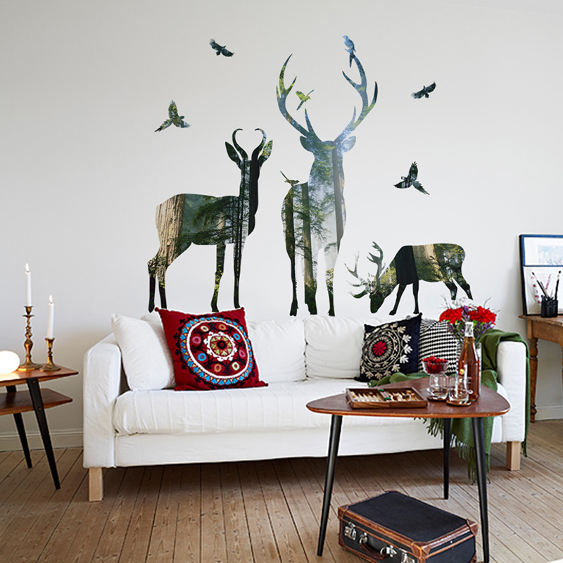 Us 0 78 35 Off Forest Deer Flying Birds Decorative Wall Stickers For Home Decorations Living Room Bedroom Pvc Decor Animals Diy Mural Art Decal In