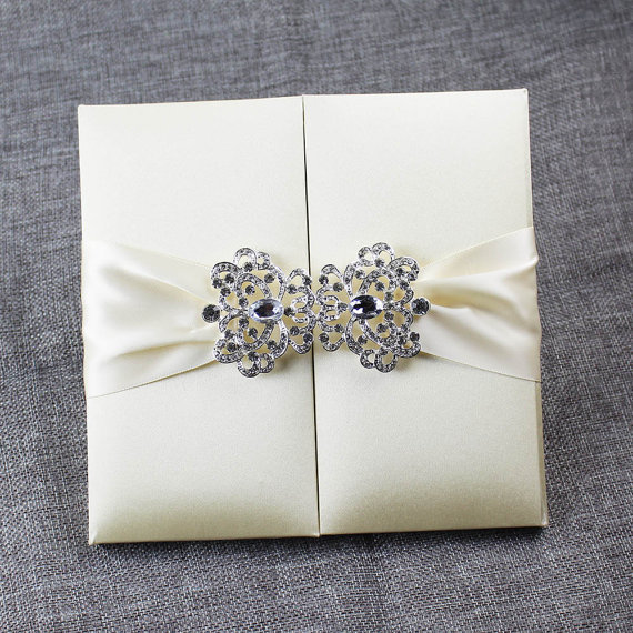 Handmade Faux Silk Folio Wedding Invitation With Stunning Rhinestone Embellishment In Cards Invitations From Home Garden On Aliexpress Alibaba