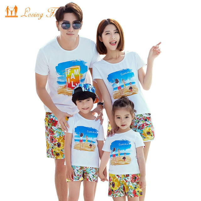 1d73e1833c00 Family Clothing 2019 Summer Style Print Boy Girl T shirt Shorts Dad Son  Mother and Daughter
