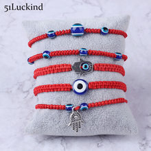 5 Style Hand Braided Red Thread Bracelet Charm Turkish Evil Eye String Lucky Hamsa Braclet For Men Women Brithdays Gift Jewelry(China)