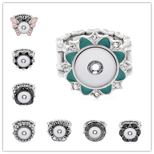 10pcs/lot Antique Silver Metal Snap Adjustable rings trendy flexible fit 12MM snap buttons DIY fittings wholesale image
