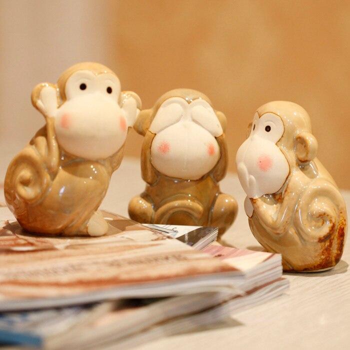 3 monkeys Ceramic Enamel Retro old Furniture Animal Figurines Miniatures Home Decoration Accessories Vintage Home Decor