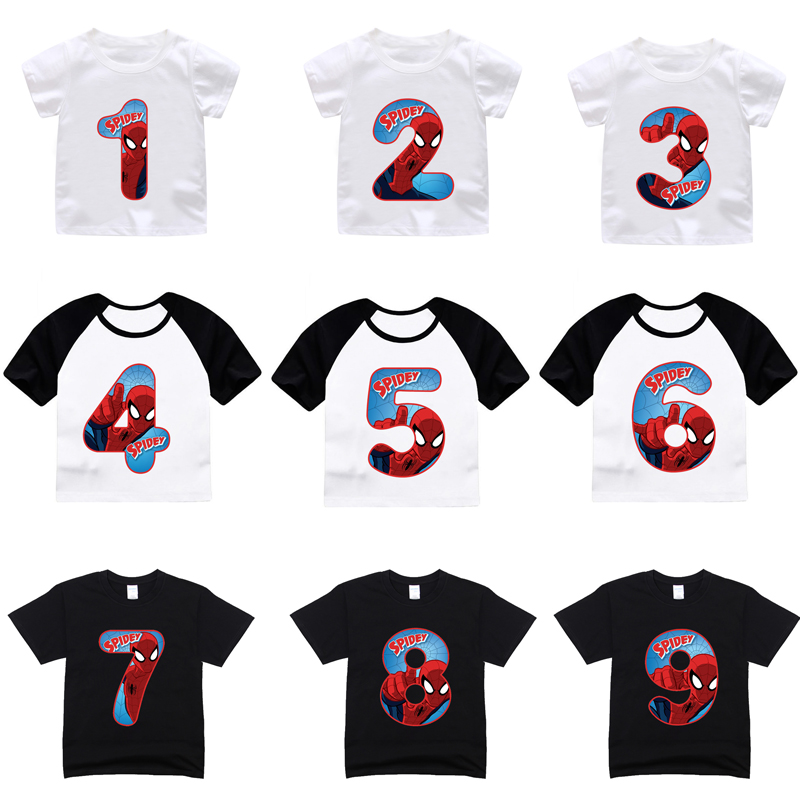 Detail Feedback Questions About ZSIIBO Happy Birthday Number 19th T Shirts Boy Girl Superhero Tshirt Summer Cotton Tees Baby Spider Top Children