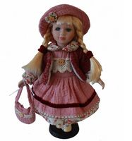 30cm porcelain pink dress girl doll European rural Field Village ceramic doll style home decoration Christmas gifts