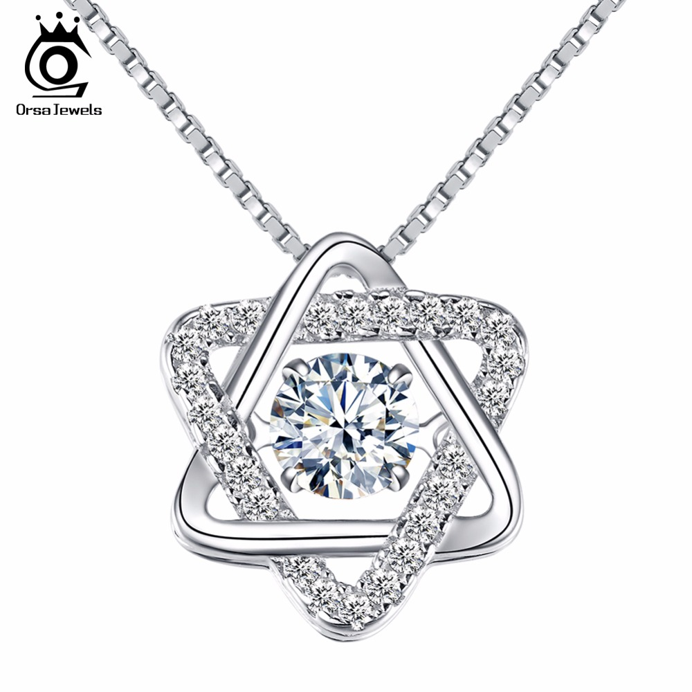 ORSA JEWELS Real 925 Silver Women Star Pedant Necklaces withs