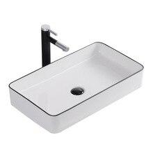 Скандинавский умывальник с черной стороной, гостиничный керамический Художественный Умывальник, черный и белый креативный Умывальник для ванной комнаты, выдвижной кран