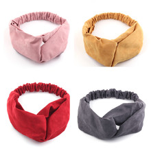 Headband Spring Hair-Accessories Elastic-Hair-Bands Cross-Knot Autumn Solid Soft Suede