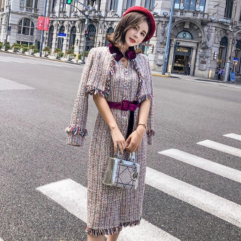 2019 nouveauté aucun complet Vintage col rabattu régulier mi-mollet court à pois femmes ensembles femmes 2 pièces jupe ensembles
