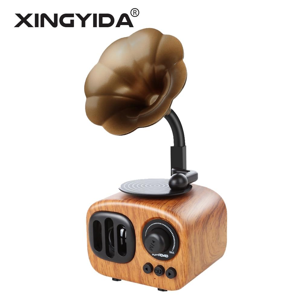 Xingyida Wooden Speaker Bluetooth Senza Fili Stereo Bass Altoparlanti Tromba Stile Giocatore Di Musica Di Sostegno Tf Mic Fm Per Telefoni Pc Lucentezza Luminosa