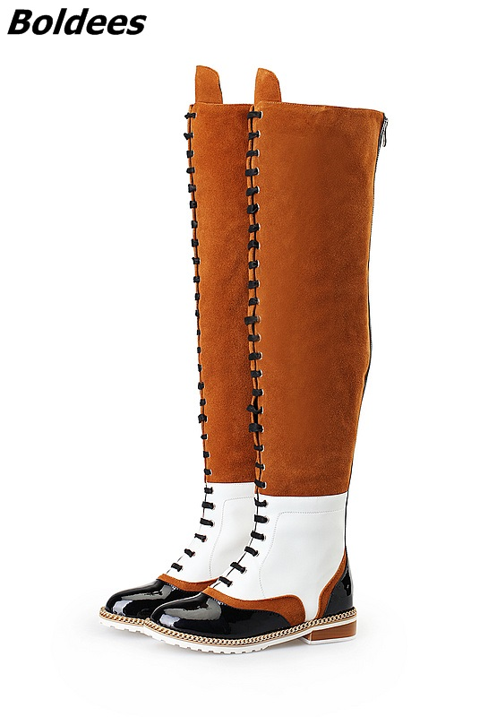 Plus Size Celebrity Vintage Shoes Woman Sexy Long Riding Botas Mixed Colors Thigh High Boots Women Flat Booties Over The Knee