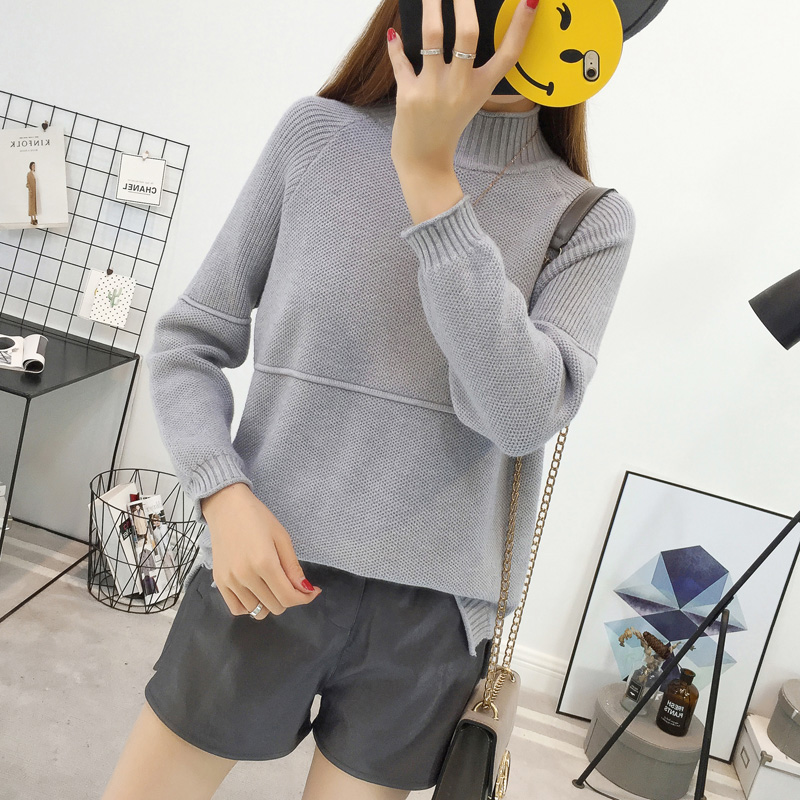 2017 female Korean winter sweater sleeve head loose thin women's curling a semi solid bottoming sweaters