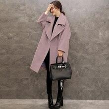 Loose Large Size Women In Spring And Autumn Suit Woolen Coat Lilac Girl Temperament Coat Drop-shoulder Open Stitch Manteau Femme