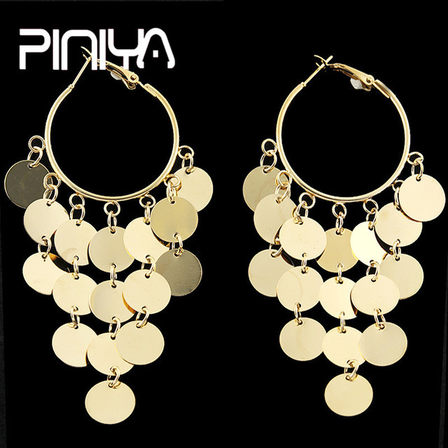 992a9ff58 Fashion Tassel Sequins Big Round Coin Dangle Earrings Set For Women Crystal  Beads Drop Earring Gold