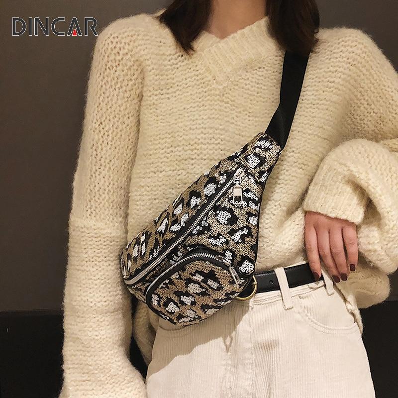 DINCAR New Brand Fashion Women Waist Packs Pillow  Sequin Bags Leopard Ladies Pockets Chest Bag  Unisex Fanny Pack Ladies Purse