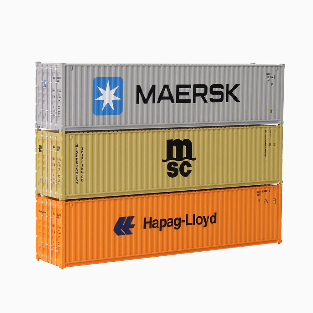 3 sztuk różnych 40ft pojemnik transportowy HO skala Maersk hapag-lloyd MSC 1 87 towarowego jeśli w tej klasie nie ma samochodu pociągi