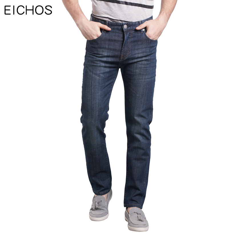 EICHOS Mens Jeans 2017 Large Size 40 42 44 46 48 50 Men Jeans Casual Slim Fit Wild Trouser Teens 99% Cotton Mens Stretch Jean