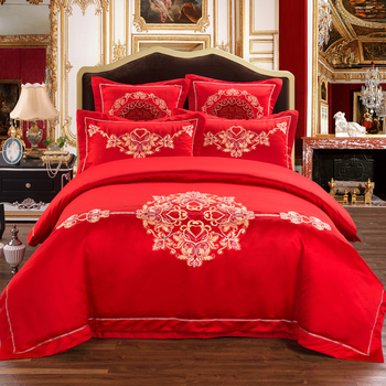 4/6-Pieces red Luxury wedding Bedding Set Queen King Size Bed Set Embroidery Duvet Cover Bed Sheet Bed Linen
