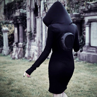 Liser Women Black Sexy Mini Dresses Gothic Asymmetric Split Hooded Dresses Summer Party Punk Short Club Dresses
