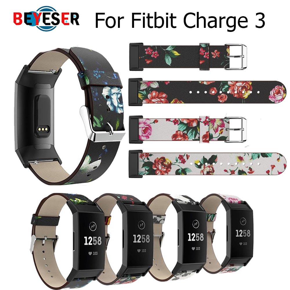 Replacement Printingfor Fitbit Charge 3 Bands Leather Straps Band Interchangeable Smart Fitness Watch Band With Stainless Frame