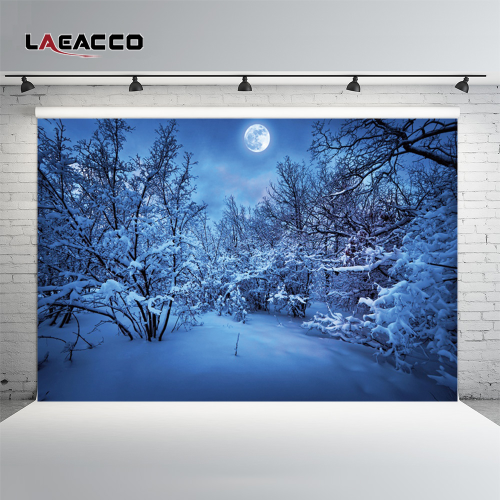 Laeacco Winter Snow Moon Night Forest Tree Scenic Photography Backgrounds Vinyl Custom Photographic Backdrops For Photo Studio