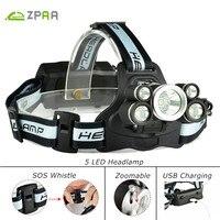 ZPAA 5 LED Headlamp High Power 3 XML T6 2 XPE LED Headlight Head Torch Zoom