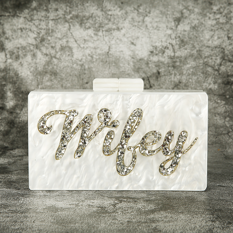 Letter Wifey Vintage Handmade Acrylic Purse Box Clutches Name Shoulder Bags traps Holiday Beach Crossbody Messengers Handbag